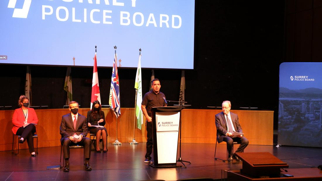 Police Board Announcement - Chief Harley Chappell at the podium