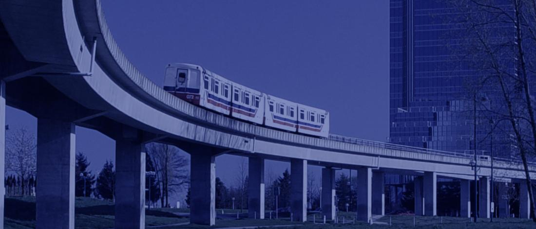 SkyTrain on tracks in Surrey City Central.